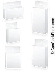 blanco, venta al por menor, cajas, con, cuelgue, slot.