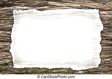 blanco, viejo, papel, en, de madera, plano de fondo