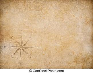 blanco, viejo, plano de fondo, mapa