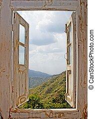 blanco, viejo, vista ventana