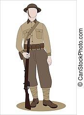 blanco, ww1, británico, francia, 1918, soldado, ejército