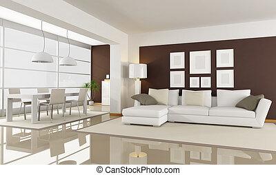 blanco, y, marrón, sala