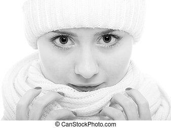 blanco y negro, retrato de la muchacha