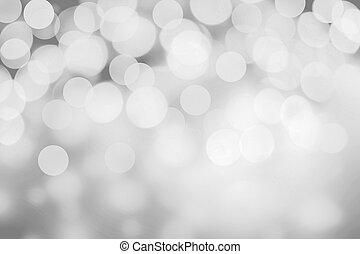 blanco, y, plata, resumen, bokeh, lights., brillante,...