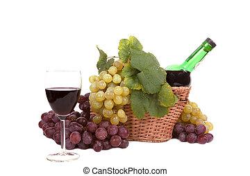 blanco, y, uva roja, con, hojas, y, botella de vino