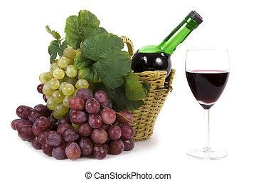blanco, y, uva roja, con, hojas, y, botella de vino, en, el, cesta