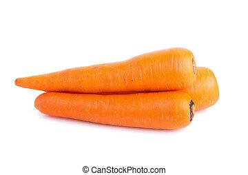 blanco, zanahorias, aislado, plano de fondo