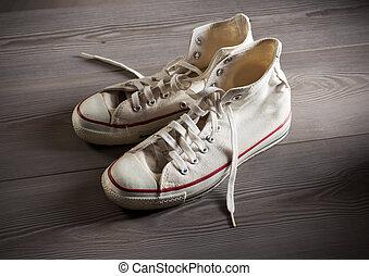 blanco, zapatillas, lona