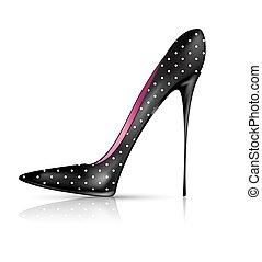 blanco, zapato negro