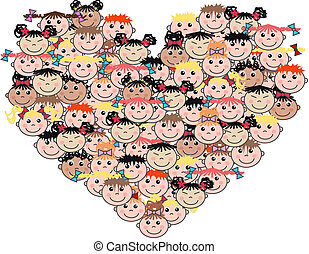 blandad, etnic, kärlek, barn