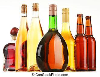blandad, flaskor, alkoholiserada drycker, isolerat, vit