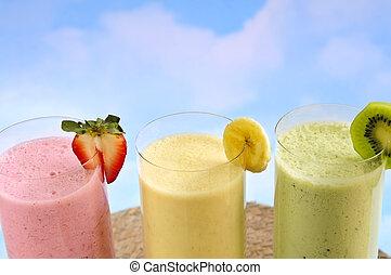 blandad, frukt, smoothies