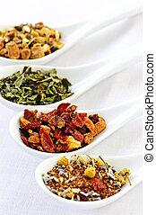 blandad, herbal, wellness, torka, te, in, skedar