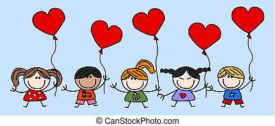 blandad, kärlek, barn, etnisk