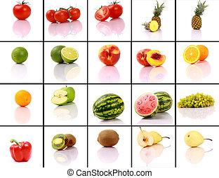 blandad, kollektion, frukter