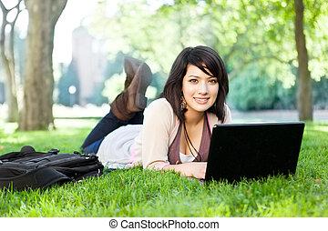 blandad, laptop, lopp, högskola studerande