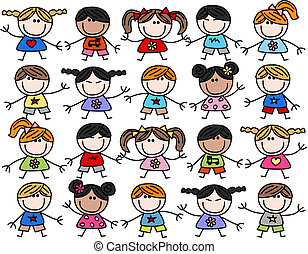 blandad, lurar, barn, etnisk, lycklig