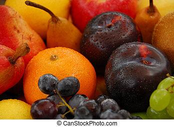 blandad, rå frukt, sele
