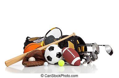 blandad, sporter utrustning, på, a, vit fond