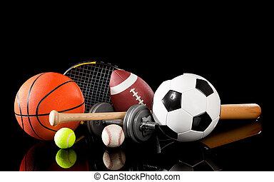 blandad, sporter utrustning, på, svart