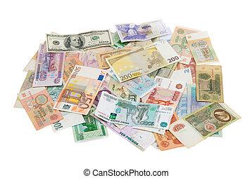 blandad, värld, sedlar
