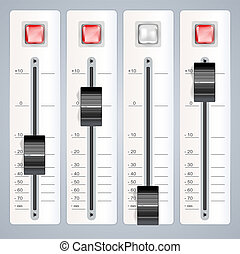 blandande, audio, konsol