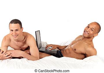 blandat par, ethnicity, homosexuell