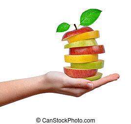blande, æble, hænder