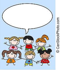 blandet, børn, børn, etniske