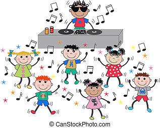 blandet, dansende, børn, etniske, disco