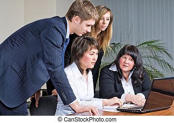blandet gruppe, møde, firma