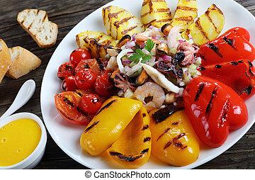 blandet, hav mad, salat, på, beklæde