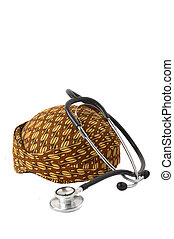 blangkon a traditional hat Javanese men with stethoscope on...