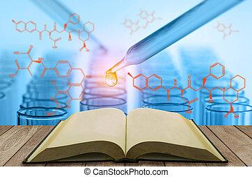blank, åben bog, hos, videnskab, laboratorium prøve, rør, baggrund
