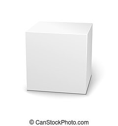 Blank 3D box on white background with shadow