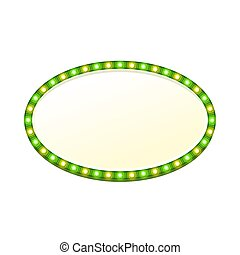 Blank 3d oval retro light banner with shining lights. Green sign with green and yellow bulbs and bright blank space for text. Vintage street signboard. Advertising frame. Colorful vector illustration.