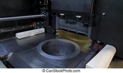 Blank 3d printer inside close-up. Wide angle 4K