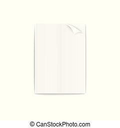 Blank 3D realistic paper magazine or brochure mockup vector illustration isolated.