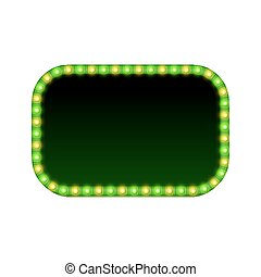 Blank 3d rectangular retro light banner with shining lights. Red sign with green and yellow bulbs and blank space for text. Vintage street signboard. Advertising frame. Colorful vector illustration.