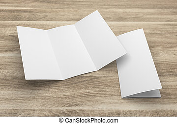 Blank 3D rendering tri-fold brochure mock-up with clipping path on wood No. 1