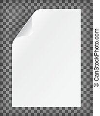 Blank A4 paper sheet with curled corner