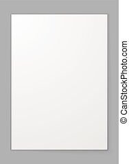 A4 sheet of paper isolated on grey background vector template.