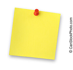 blank adhesive note note against white background, gentle shadow behind