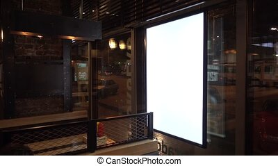 Blank advertising billboard in cafe - Blank advertising...