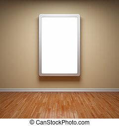 Blank advertising billboard in empty room