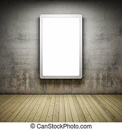 Blank advertising billboard in Interior room with grunge ...