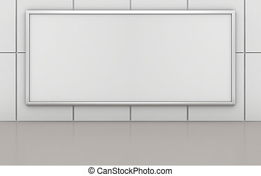 Blank advertising billboard on tile wall