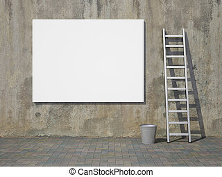 Blank advertising billboard on wall - Blank advertising ...
