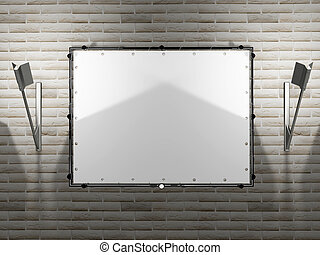 blank advertising billboard with the lamps