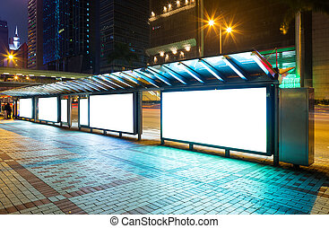 Blank advertising panel on street